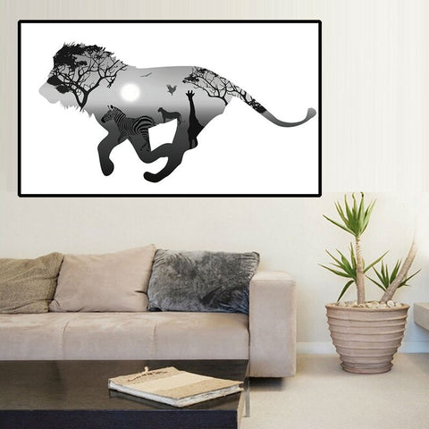 Silhouette Of Lion With Pine Forest Modern Black White Art Print Animals Poster Hippie Wall Picture Canvas Painting Home Decor