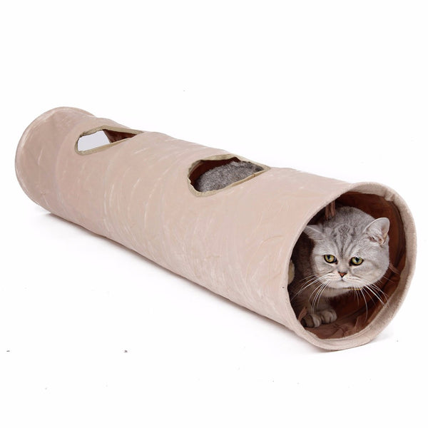Pet Tunnel with Ball Cat Play Tunnel Funny  Cat Long Tunnel Kitten Play Toy Collapsible Bulk Cat Toys PlayTunnel 2 Holes
