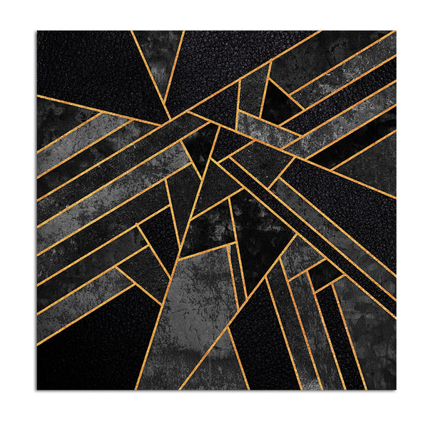 Cuadro Decoration King Size Abstract Geometric Black Golden Canvas Print Painting Poster, Wall Pictures For Hotel Restaurant