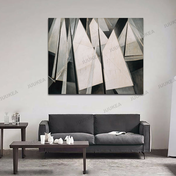 Charles Demuth Sails Black White Abstract Canvas Art Print Painting Poster, 40x50cm Wall Picture For Home Decoration, Wall Decor