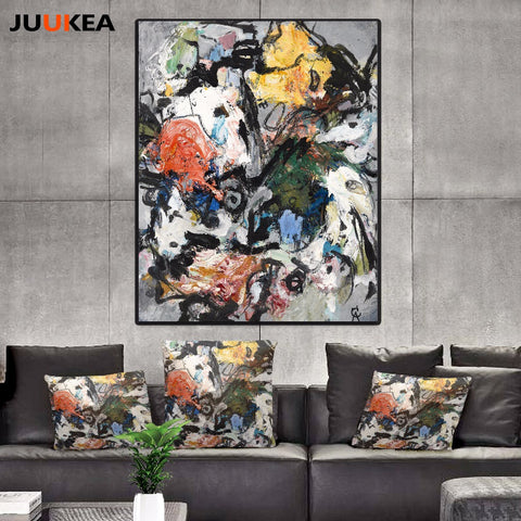 Modern Fashion Freehand Graffiti-art Senior Hotel Decoration Abstract Canvas Oil Painting Print Poster Wall Picture No Frame