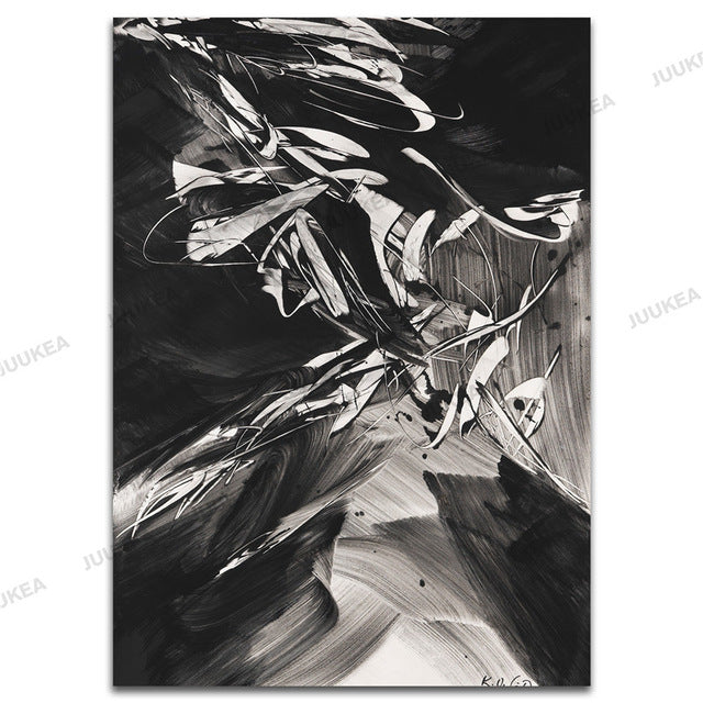 Black White Crazy Abstract Canvas Art Print Painting Home Decor Painting Calligraphy Wall Posters For Living Room Wall Decor