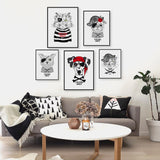 Vintage Retro Pirate Anmial Cat Dog Pet A4 Art Prints Poster Hippie Wall Pictures Canvas Painting No Framed Kids Room Home Decor