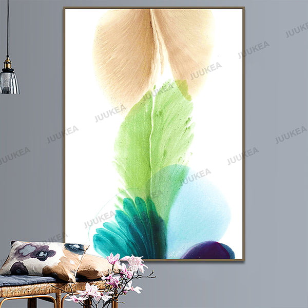 Nordic Watercolor Abstract Bloom Floral Plant, Canvas Print Painting Poster Art, Wall Pictures For Living Room, Home Decor Art