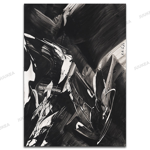 Black White Crazy Abstract Canvas Art Print Painting, Home Decor Painting & Calligraphy Wall Posters For Living Room Wall Decor