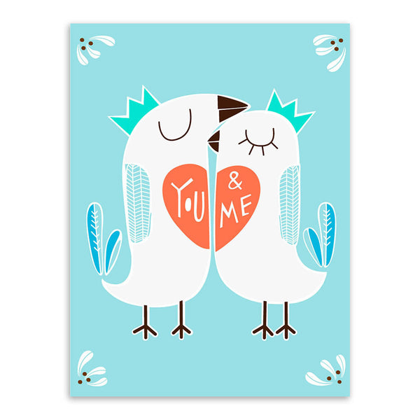 Modern Kawaii Triptych Animal Bird Love Quotes Canvas Art Print Poster Nursery Wall Picture Painting Wedding Decoration No Frame