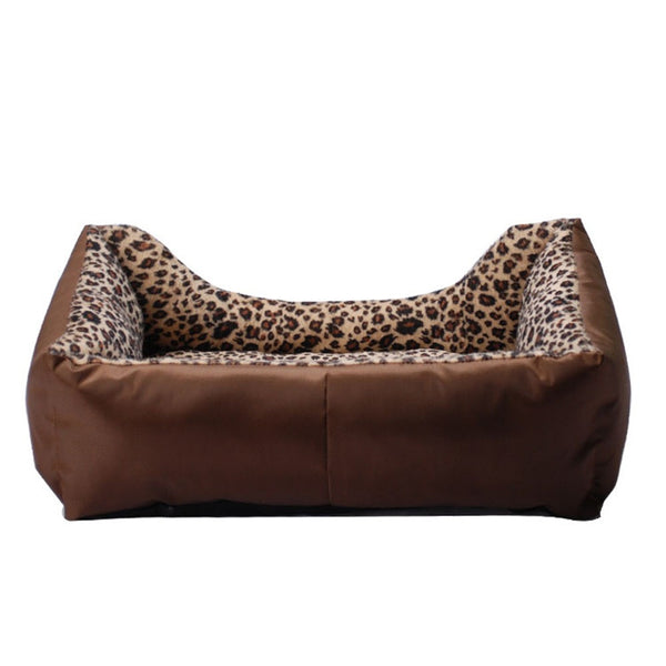 Leopard grain square pet nest Spring Autumn Winter dog cushion bed pet paded DOG-HOLE cat kennel pet bed for dogs and cats