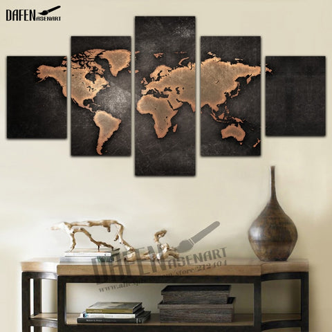 5 Pieces Buddha Canvas Wall Art Vintage Black World Map Print Painting Wall Art Home Decor for Living Room Framed Ready to Hang