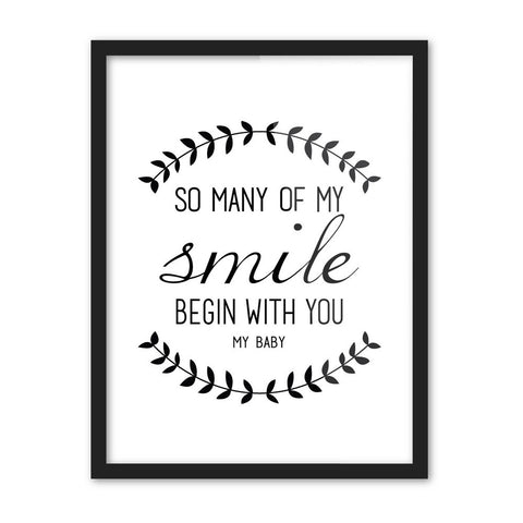 Modern Black White Nordic Minimalist Typography Smile Love Quotes