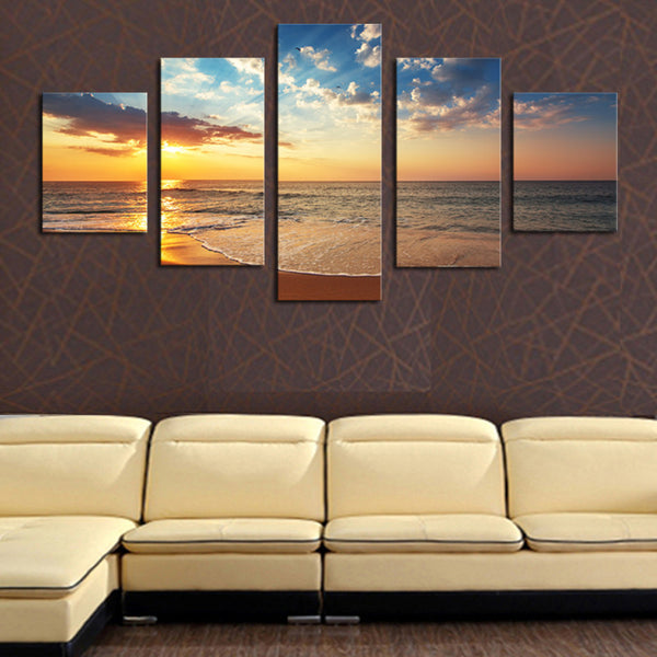 (No Frame)5 Piece Sun Sea Beach Modern Home Wall Decor Canvas Art Picture  HD Print Painting On Canvas Painting on the wall