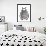 Nordic Minimalist Black White Animal Kawaii Bear Art Print Poster Abstract Wall Picture Canvas Painting No Frame Kids Room Decor