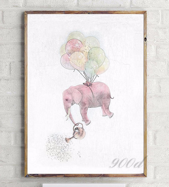 Elephant with Balloon Sketch Canvas Art Print Painting Poster,  Wall Pictures for Home Decoration, Home Decor Ye15-2
