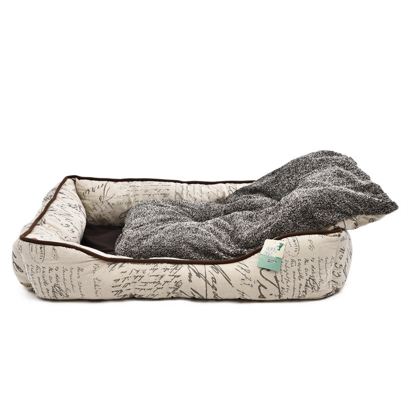 High Quality Luxury Pet Bed Letter Gray Square Dog Kennel Super Soft Warm Thick Bed For Cat Pet Nest Pet Supplies Large Dog Beds