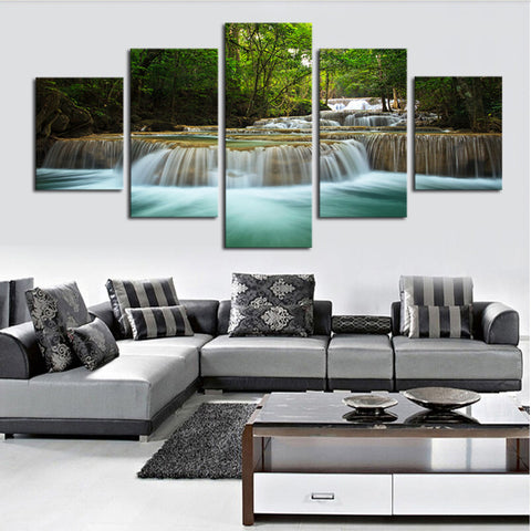 ... 5 Panel Waterfall Painting Canvas Wall Art Picture Home Decoration Living  Room Canvas Print Painting  ...