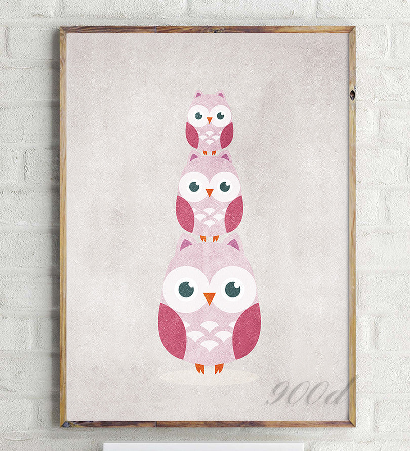 Vintage Carton Owls Canvas Art Print Painting Poster,  Wall Pictures for Home Decoration, Nursery Home Decor YE60