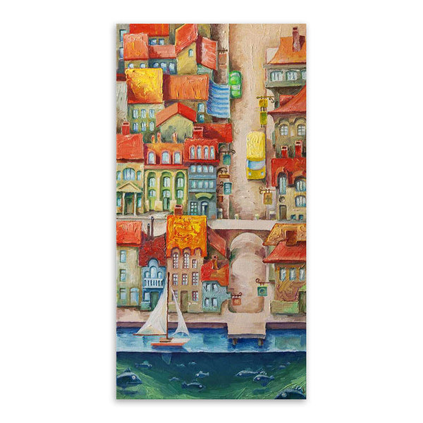 Modern Colorful Fantasy City Cartoon A4 Large Art Print Poster Abstract Wall Picture Canvas Oil Painting No Frame Kids Room Deco