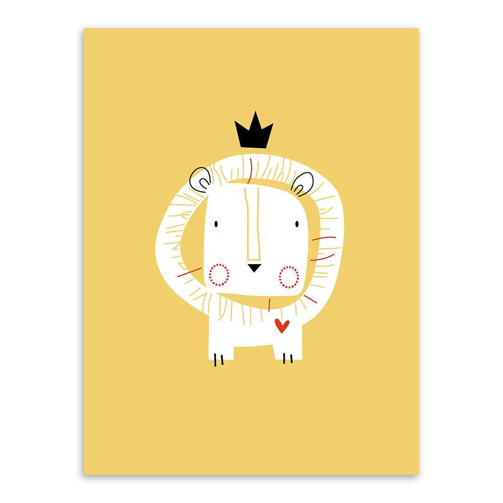 Modern Nordic Minimalist Cartoon King Animals Lion Giraffe A4 Art Print Poster Wall Picture Canvas Painting Kids Room Home Decor