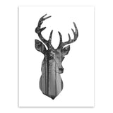 Nordic Vintage Black White Deer Head Animals Silhouette A4 Big Art Print Poster Wall Picture Canvas Painting No Framed Home Deco