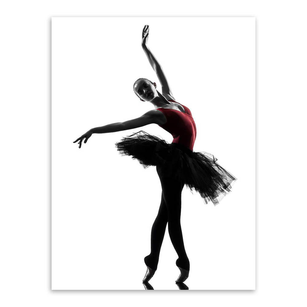 Modern Black White Ballet Dancer Silhouette Beauty Girl Photo Art Prin Ellaseal