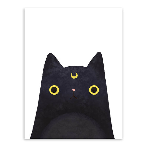 Watercolor Japanese Pet Cat Animal Face A4 Big Art Print Poster Kawaii Wall Picture Canvas Painting No Frame Kids Room Home Deco