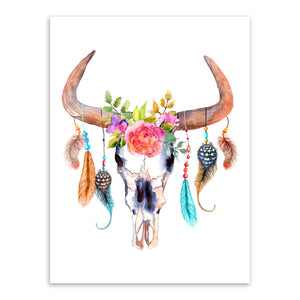 Modern Vintage Retro Animal Deer Head Skull Feather A4 Art Prints Posters Dream Catcher Wall Picture Canvas Painting Home Decor