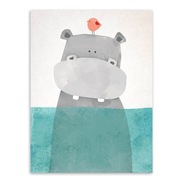 Modern Nordic Kawaii Bear Hippo Bird Animal A4 Art Prints Poster Cartoon Wall Pictures Canvas Painting No Framed Kids Room Decor