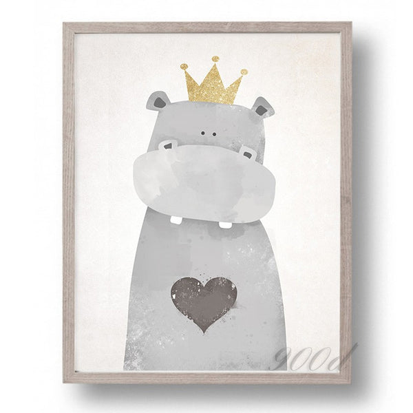 Cartoon Cute Hippo Canvas Art Print Painting Poster,  Wall Picture for Home Decoration, Wall Decor FA400-1