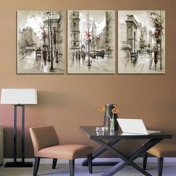 3 Panel Modern Abstract Oil Painting Canvas Retro City Street Landscape Pictures Decorative Paintings Wall Art No Frame