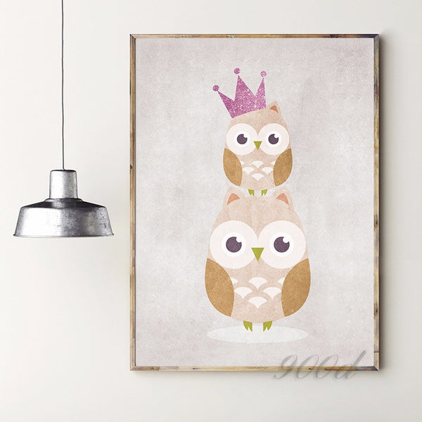 Original Vintage Cartoon Owls With Crown Canvas Art Print Painting Poster, Wall Pictures for Home Decoration, Home Decor YE61