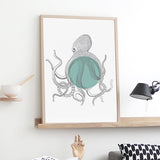 Marine Animals Canvas Art Print Poster, Octopus Wall Pictures for Home Decoration, Giclee Print Wall Decor CM010