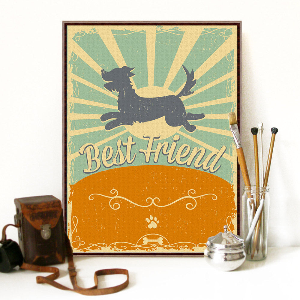 Modern Vintage Retro Dog Friendship A3 Large Poster Print Pet Typography Hipster Hippie Canvas Painting Home Wall Art Decor Gift