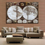 3 Pieces(No Frame) Wall Art  Map Restoring Ancient Ways Picture HD Top-rated Canvas Print Painting Paintings Home Decoration
