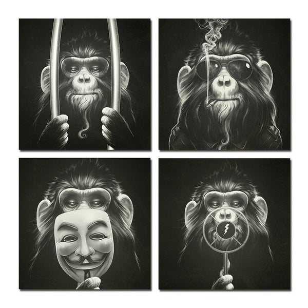 Wall Halloween Canvas Arts Pictures With Framed For Home Decor Ready To Hang Monkey 4P