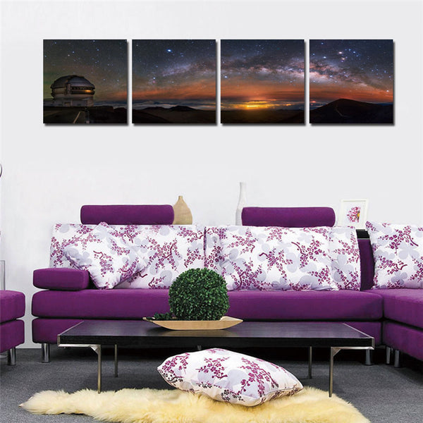 Canvas Printings Star Wall Picture For Living Room Cuadros Decoracion Modern Observatory Framed 4 Pcs Tableau Peinture Sur Toile