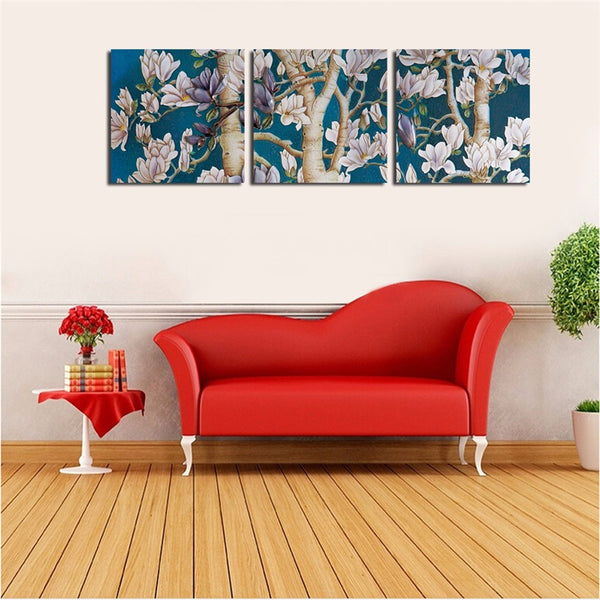 Elegant Wall Flower Christmas Canvas Printings With Framed Ready To Hang Wall Picture For Home Decor Modern 3Pcs Canvas art Gift