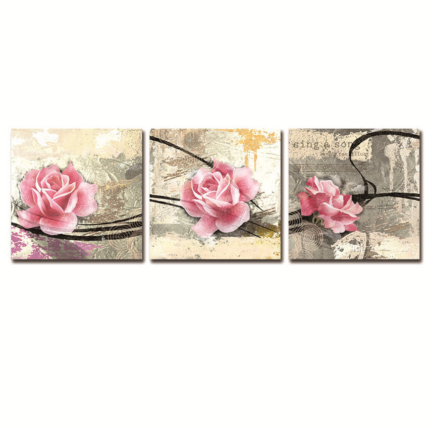 Rose Christmas Wall Canvas With Framed Ready To Hang For Living Room Modern Painting Wall Picture With Frame And Box Hot Gift