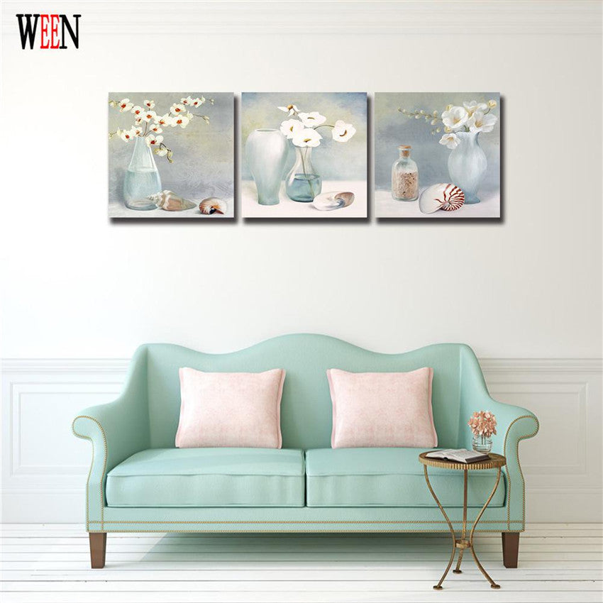 Flowers in Vase Christmas Wall Canvas Atrs With Framed Ready to hang Modern Cuadros Quadro