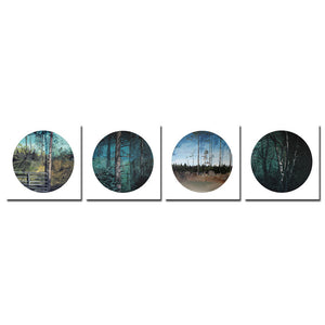Forest Trees Framed Canvas Printings Wall Picture For Living Room Modern 4Pcs Tableau Peinture Sur Toile With Frame Canvas art