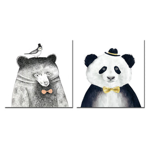 Framed Panda Canvas Printings Wall Pictures For Living Room Modern Paintings Tableau Peinture Sur Toile 30X30CMX2 Wall arts