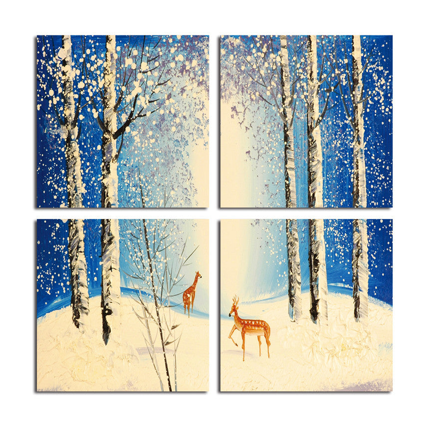 Forest Deer Framed Snow Canvas Printings Wall Picture For Living Room Modern Tableau Peinture Sur Toile With Frame Canvas art