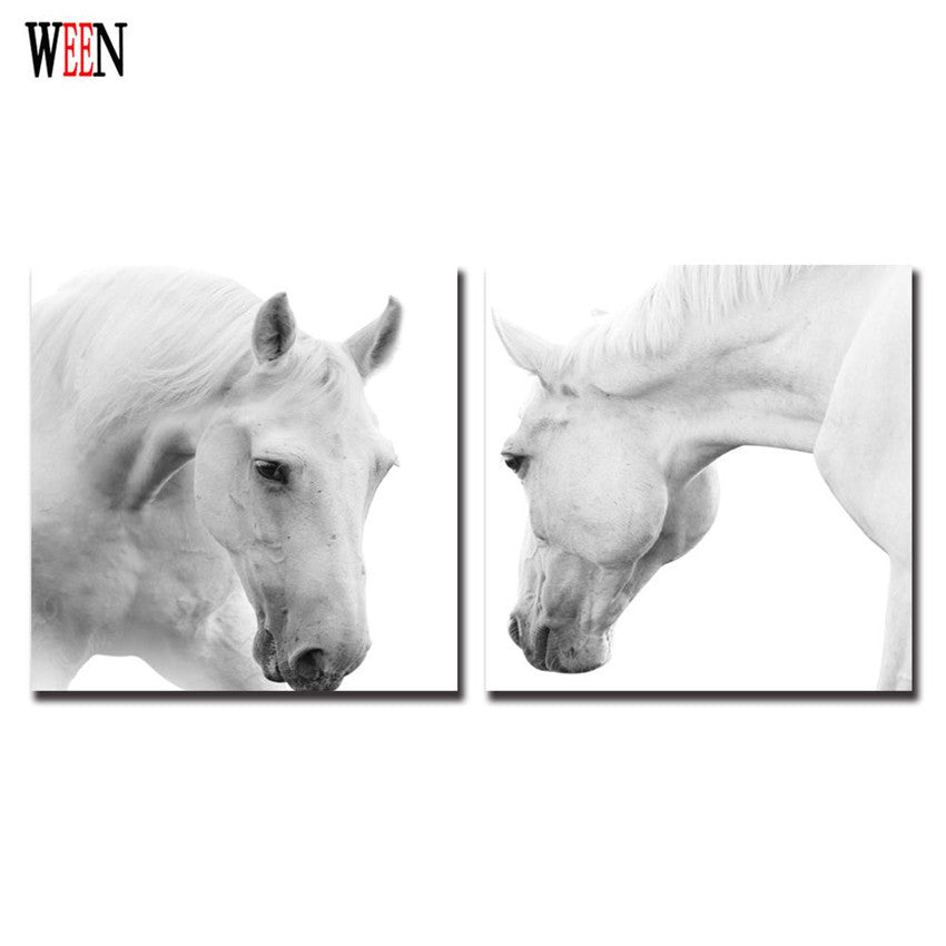 Framed White Horse Wall Art Cuadros Decoracion Wall Picture For Living Room Canvas Printing Christmas Gift Posters And Arts