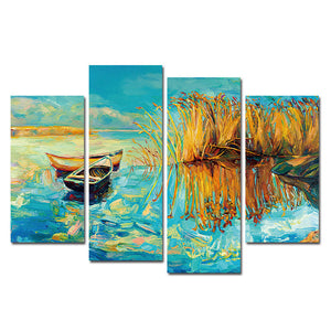 Boat Print Canvas Printing Modern Lake Wall Art Paintings Pictures For Home 4Pcs Wall Art Decor tableau peinture sur toile