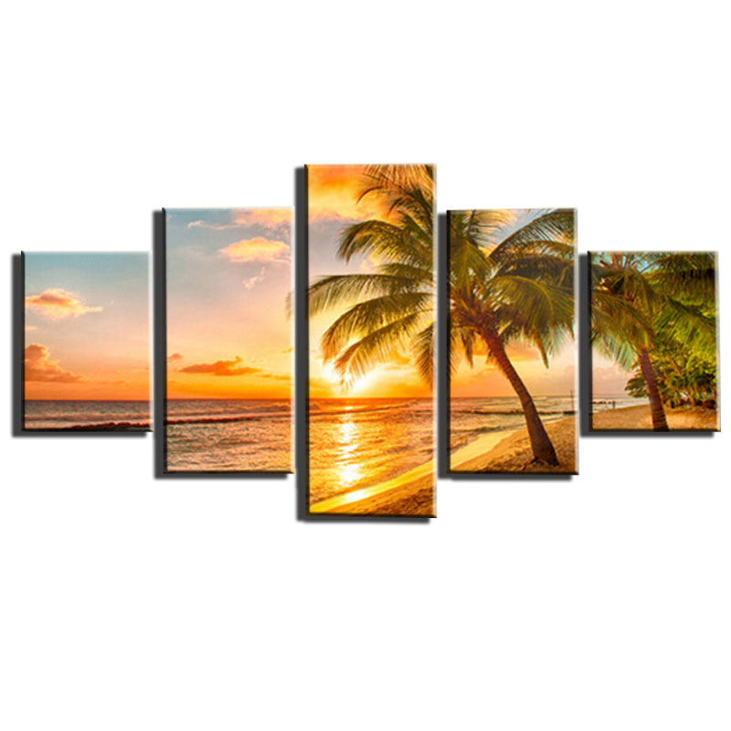 5 Piece Modern Picture Canvas Printings Sunset Seascape Beach Canvas Print Wall Canvas Art For Living Room Decor Unframed