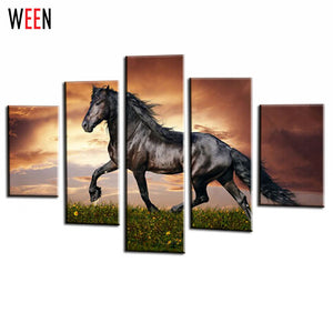 5 Panel Modular Horse Canvas Paintings On The Wall Printed Black Hores Painting Wall Pictures For Living Room Cuadros Decoracion