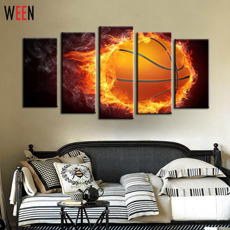 5 Piece Flame Basketball Modern Printed Picture Painting On Canvas Home  Wall Art For Decoration DIY