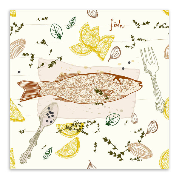 Modern Fish Dish Poster Print Animal Picture Vintage Retro Japanese Kitchen Home Restaurant Wall Art Decor Canvas Painting Gift