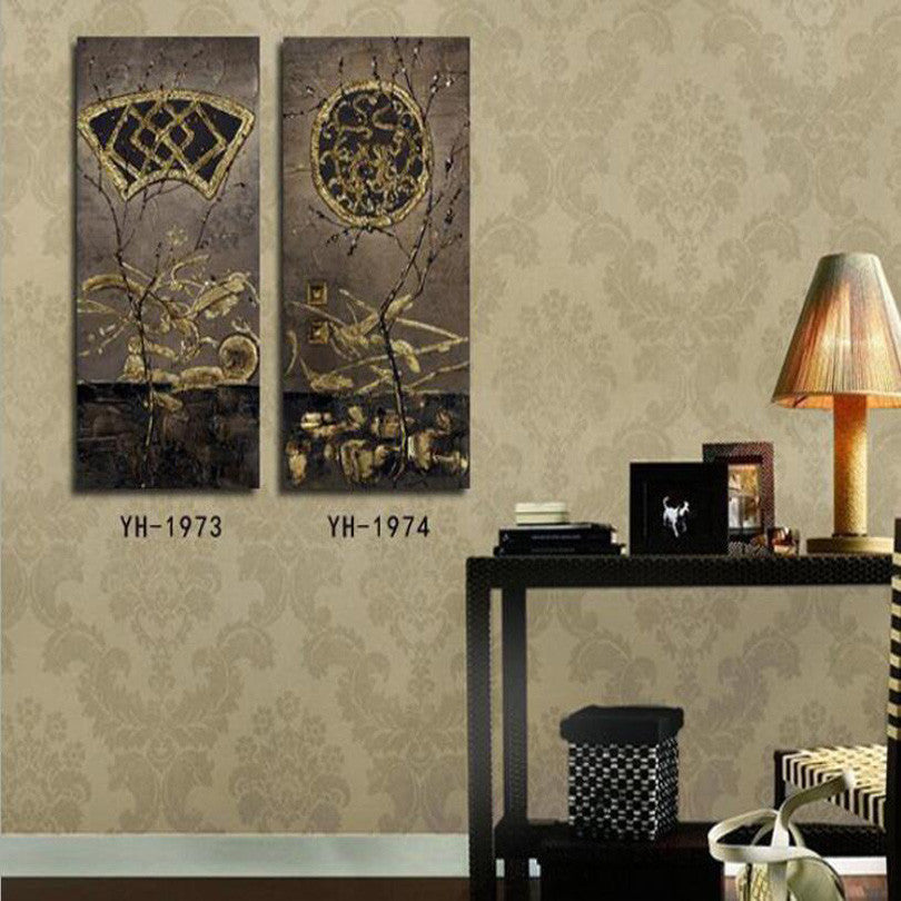 Fashion Retro Simulation 0il Painting Decorative Living Room Bedroom Canvas Painting 2pcs/Set