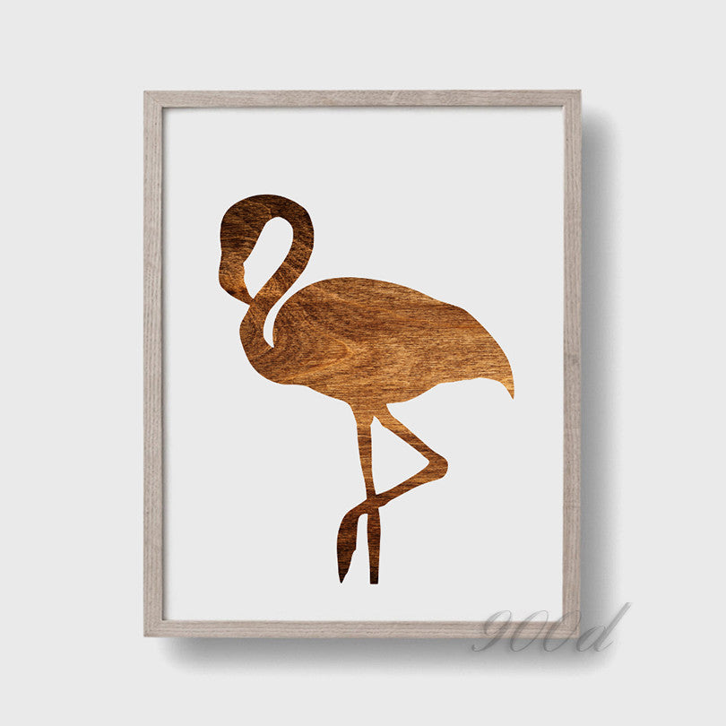 Flamingo Wood Print Canvas Art Print Painting Poster,  Wall Picture for Home Decoration,  Wall Decor YE029