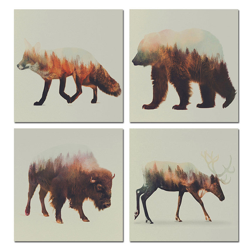 Brown Style Animals Canvas Printings For Room Wall Modern Paintings Wall Pictures Tableau Peinture Sur Toile With Frame Hot Gift