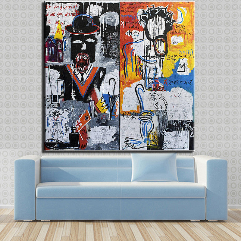 2016 Time-limited Painting Frameless Picture On Wall Paint Painting Abstract A Panel Of  Two Art Home Decor Basquiat
